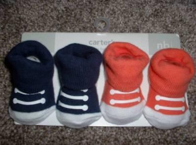 Carters Baby Booties 2pk Size Newborn NB Boys NWT NEW Blue Orange Sneakers $20