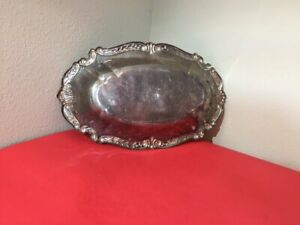 Vintage Silverplate oval Brot Serviertablett Schale mit verzierter Grenze