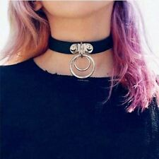 Vintage Punk Rock Harajuku Double O RING Leather Collar Choker Necklace NEW
