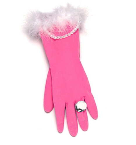 Novelty Washing Up Gloves Joke Gift Pink And Pearly Rubber Glove Joke For Women