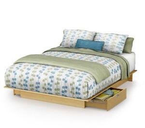 Natural Full Storage Platform Bed Maple Finish - 2 Drawers - Light Wood Tones