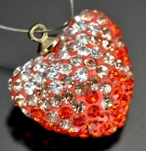 Orange Red Large Rhinestone Crystal Pave Clay Heart Penddant Charm Beads 20mm