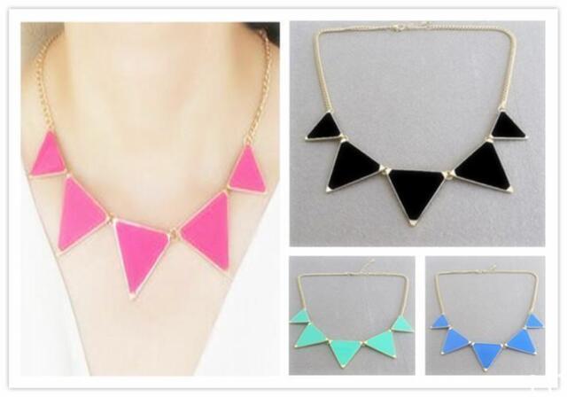 L OUS Geometric Enamel Triangle Pendant Bib Collar Choker Necklace