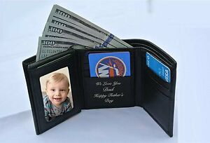 PERSONALIZED MEN'S QUALITY BLACK LEATHER TRI-FOLD WALLET CUSTOM ENGRAVED FREE