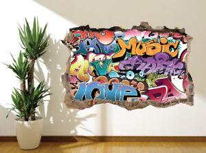 Graffiti Etichetta Musica Adolescente Camera da Letto Adesivo Parete ...