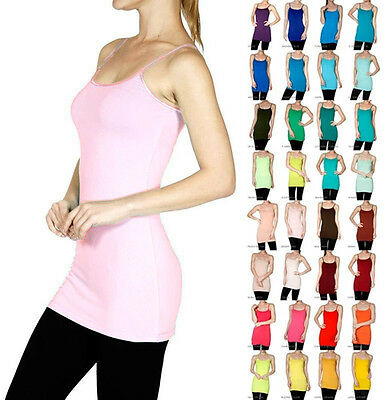 Basic Tank Top Adjustable Spaghetti Strap Long Layer Cami Solid Stretchy- S~3XL
