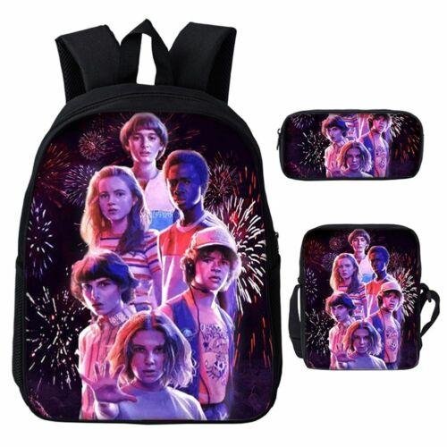 Stranger Things 3pcs//Set Backpack Student Schoolbag Pencil Case Lunch Bag  UK