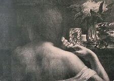 Jules Flandrin (1871-1947) La chevelure L'estampe Moderne art nouveau XIXe 1899
