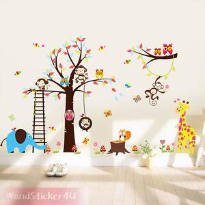 Wandtattoo-Waldtiere-Baum-Affe-Eule-Giraffe-Elefant-Dschungel-Kinderzimmer-XXL