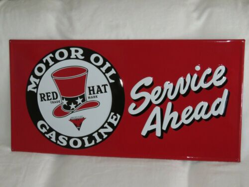 "Red Hat Service Ahead Motor Oil Gasoline Embossed Metal Sign 18x36/"" advertising"