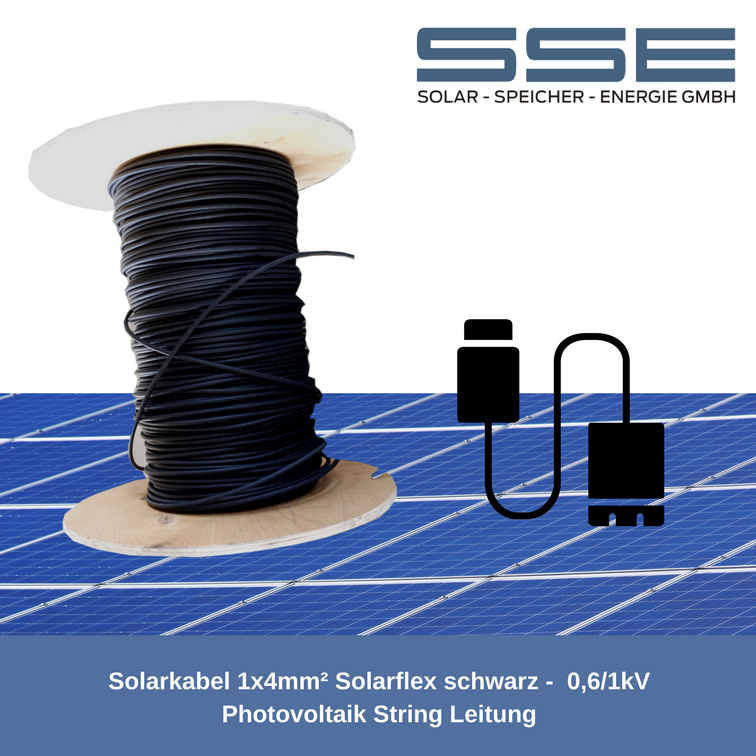 Solarkabel 1x4mm² Solarflex schwarz -  0,6/1kV Photovoltaik String Leitung