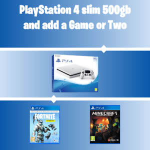 Details about PS4 Slim 500GB Glacier White Console New Add Fortnite or  Minecraft Fast Post