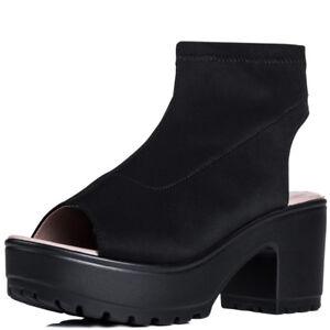 Womens-Open-Peep-Toe-Block-Heel-Sock-Ankle-Boots-Shoes