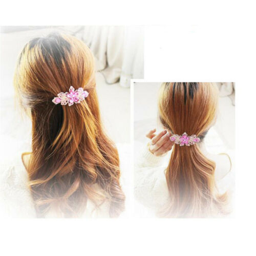 Girl Crystal Flower Rhinestones Hair Pins Clip Barrette Twinkling Scrunchy Tiara