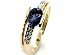 Natural Iolite & Diamond 14 Kt Solid Yellow Gold Engagement Elegant Ring Size 7
