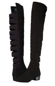 275e1df92fc A5340 New Nine West Women s Ooohaah Black Fabric Over The Knee Boot ...