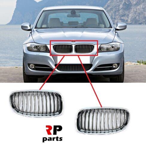 Per BMW 3 Series E90//91 09-12 LCi Paraurti Anteriore Cromato Rene Grille Coppia Set