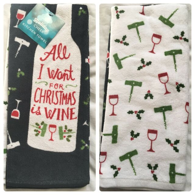 2 Kitchen Hand Dish Towels, All I Want For Christmas Is Wine $14 Gift Home MP