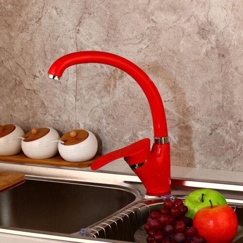 Black//White//Red Painting Kitchen Sink Basin Mixer Faucet Deck Mount Swivel Taps