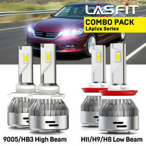 Pack of 4 LASFIT H11 H8 H9 Low Beam 9005//HB3 High Beam LED Headlight Bulbs Combo Kits 12000LM 6000K White Plug and Play