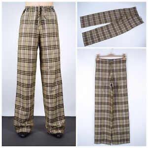 Women-039-s-BURBERRY-London-Nova-Check-Linen-Pants-Trousers-Brown-Size-UK-6-USA-4