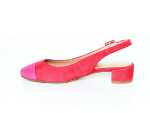 982bf21aee5 Das Bild wird geladen GARDENIA-Wildleder-Damen-Pumps-rot-pink-Halbschuhe- Ballerinas-