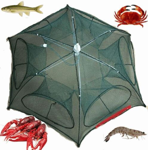 Folding Crab Net Trap Cast Dip Cage Fishing Bait Fish Minnow Crawfish Shrimp