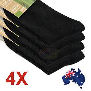 4X Mens Socks Bamboo Fibre Black comfortable Odor Resistant Comfortable Soft