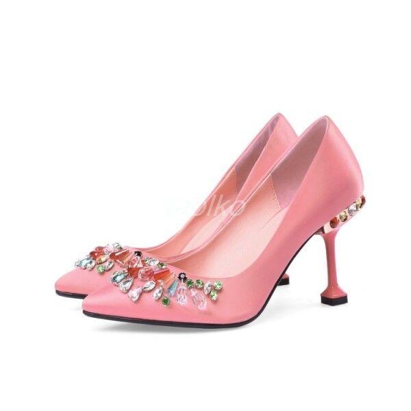 De mujer De salón Zapatos Zapatos Zapatos De Taco Alto Fiesta gatito del Rhinestone Puntera Puntiaguda Satén Zapatos De Salón Talla  promociones de descuento