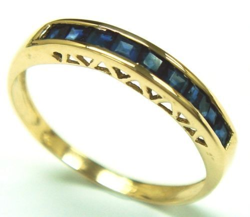 9 ct gold sapphire ring  size N  1.98 gms