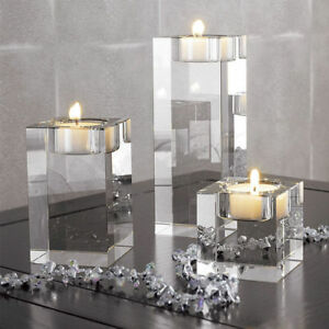 Clear-Cube-Crystal-Glass-Candle-Holder-Tea-Light-Stand-Candlestick-Wedding-Decor
