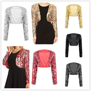Womens-Shiny-Sequin-Bolero-Shrug-Long-Sleeve-Open-Front-Crop-Top-Jacket-Cardigan