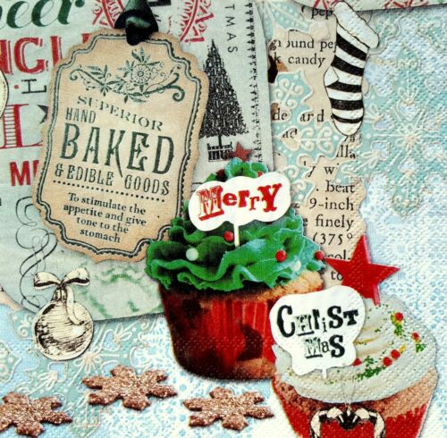 4 Lunch Paper Napkins for Decoupage Craft Vintage Muffins Christmas 1//35