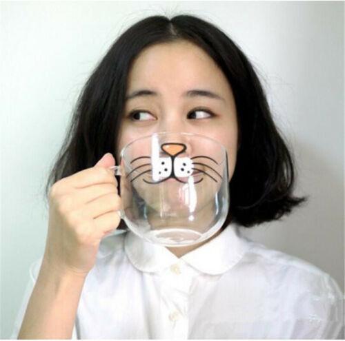 Glass Cup Coffee Tea Milk Breakfast Mug Lovely Creative Drinkware Cat Face Mugs
