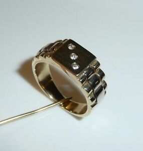 Ring-in-14-Kt-585-Gold-mit-Ringschultern-wie-Uhrenband-RG-55-56-17-5-17-8-mm