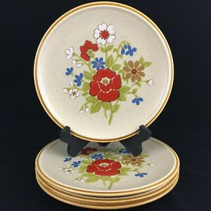Set-of-4-VTG-Dinner-Plates-by-Premiere-Stoneware-Country-Casuals-F5800-Japan