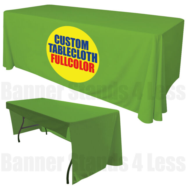 Custom 6 Ft Table Cover Tablecover 3 Sided Tablecloth Trade Show Full Color For Online