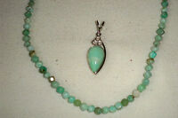 Jay King Mine Finds Russian Green Opal 18 Necklace & Pendant Sterling Silver