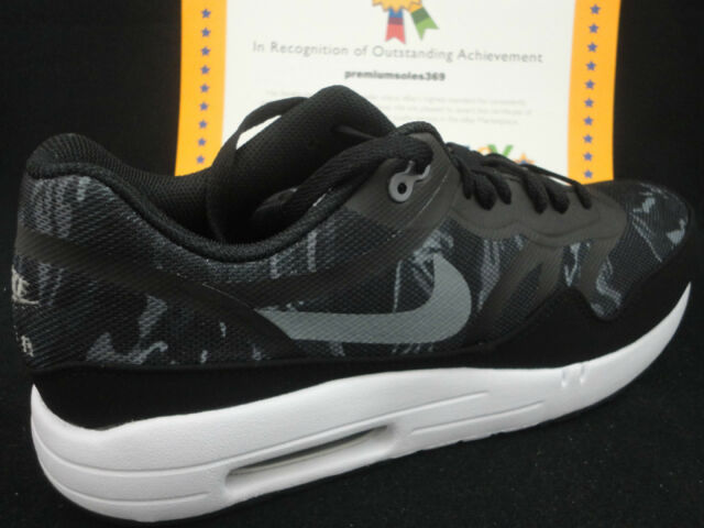 Nike Air Max 1 Premium Tape Camo, Black Cool Grey, Camouflage, Size 12
