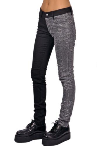 Leg Punk pvc Split Pantalone pantaloni slim skinny vinile Tripp nero Rocker argento sexy 5AWYqqIw
