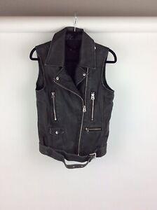 Topshop-Faux-Leather-Grey-Biker-Jacket-Size-8