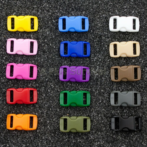 """Lot of 1000 Colored 3//8/"""" Curved Quick Release Buckle Paracord Survival Bracelets"""