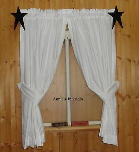 Image Is Loading Country Primitive Muslin Curtains Tiers Cafes White Off