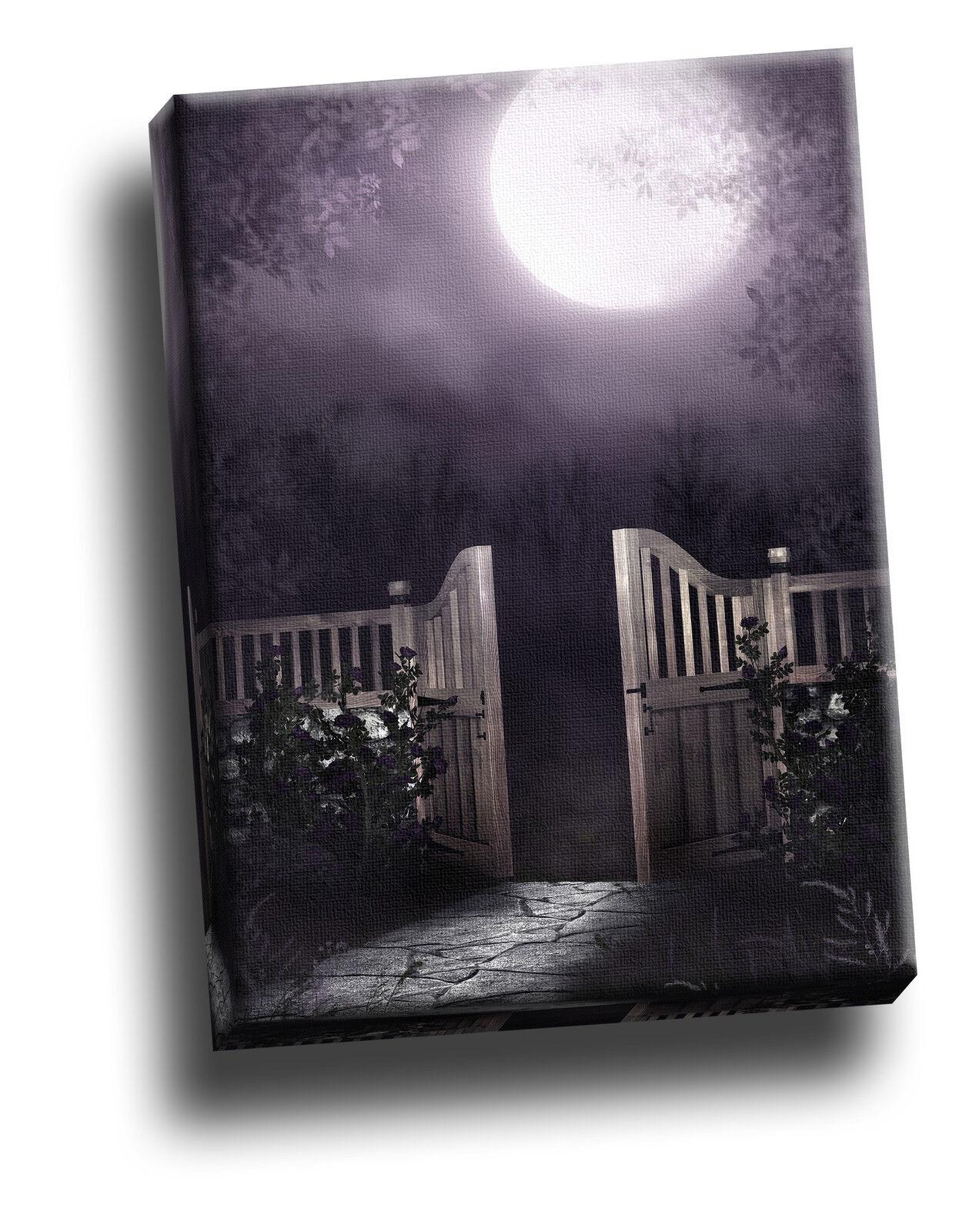 BEAUTIFUL Gothic Gateway & MOON REGALO Canvas Picture ARTE DECORAZIONE