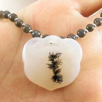 Rare Natural Dendritic Montana Agate Locket Pendant Labradorite Beads Necklace