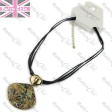 ABALONE paua QUALITY NECKLACE black leather PENDANT gold polish NATURAL shell