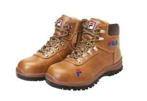 edf8e1ea Details about FILA Brand New Safety Shoes F-16 Brown Work boots Zip Steel  Toe US M 7-10.5