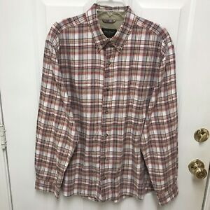 Eddie Bauer Mens XL Long Sleeve Plaid Button Down 100% Cotton Shirt