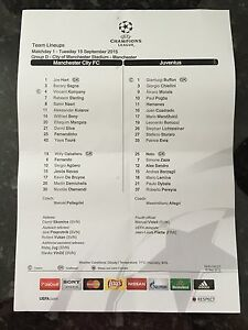 MANCHESTER CITY V JUVENTUS 15092015 CHAMPIONS LEAGUE OFFICIAL TEAMSHEET - <span itemprop=availableAtOrFrom>manchester, Lancashire, United Kingdom</span> - MANCHESTER CITY V JUVENTUS 15092015 CHAMPIONS LEAGUE OFFICIAL TEAMSHEET - manchester, Lancashire, United Kingdom