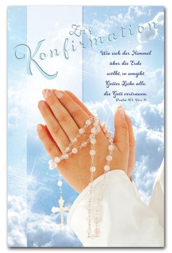 10 Glückwunschkarte Konfirmation betende Hände Psalm Grußkarten Hüllen 11-1502 A